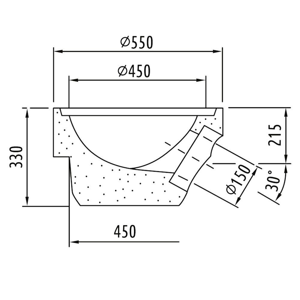 Straßenablauf-Bodenteil 1A DN150 450mm